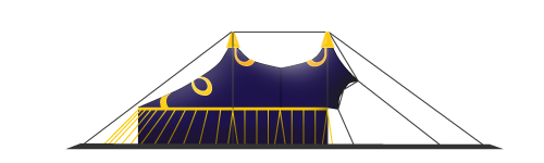 chapiteau de cirque 20M 4 mâts version casquette
