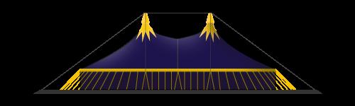 chapiteau de cirque 25M en 4 mâts
