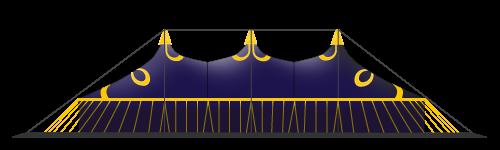 chapiteau de cirque 20M en 6 mâts version fermé