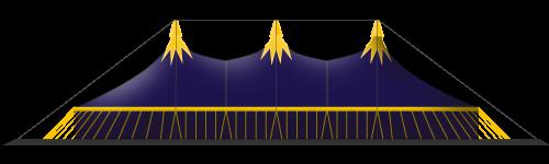 chapiteau de cirque 25M en 6 mâts