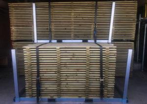 plancher bois en rack métallique