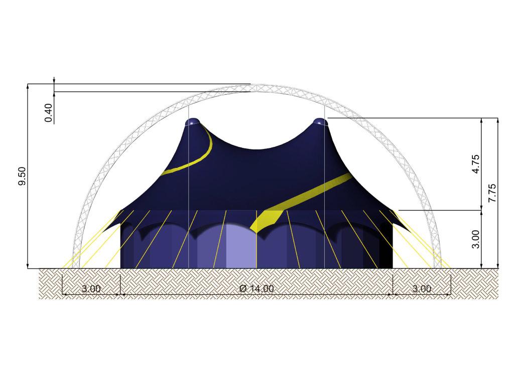 plan du chapiteau de cirque 14M rond